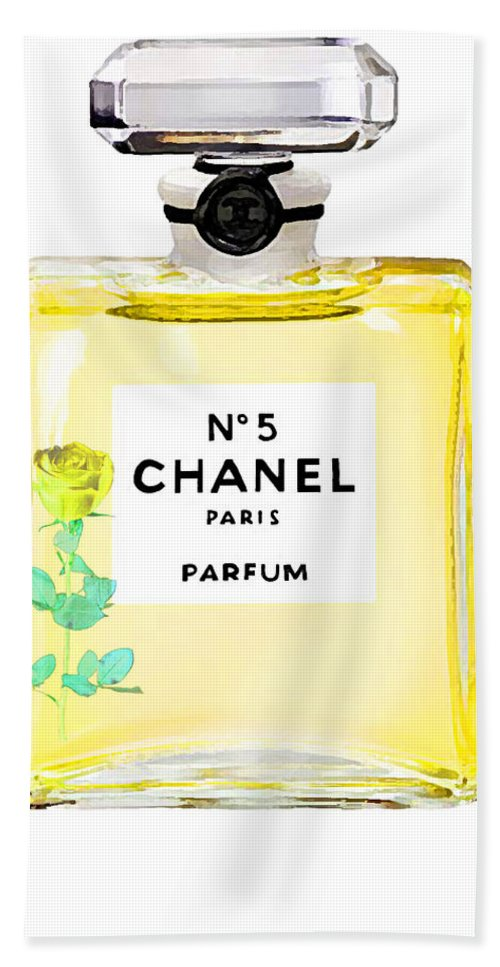 Chanel Perfume Poster Bath Sheet featuring the painting Chanel N 5 Perfume Poster by Del Art