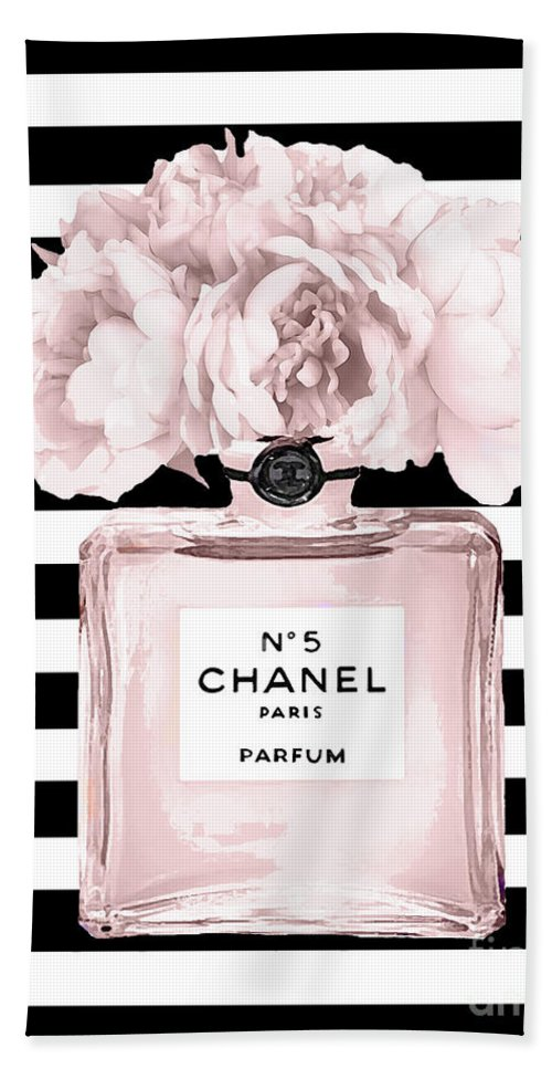 Chanel N5 Black And White Stripes Bath Towel For Sale By Del Art