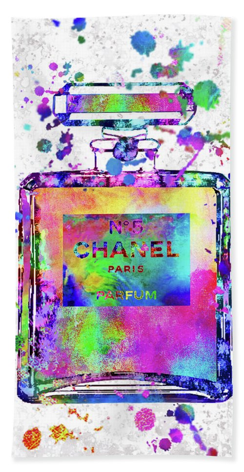 Chanel Hand Towel featuring the painting Chanel N.5 Colorful 5 by Del Art