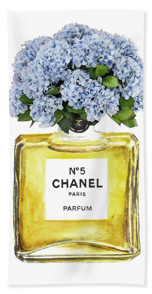 Chanel Bath Sheet featuring the painting Chanel N.5 Yellow Bottle by Del Art