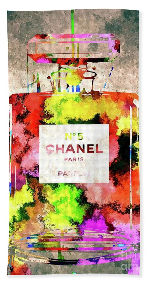 Chanel No. 5 Bath Sheet featuring the mixed media Chanel No. 5 Colored by Daniel Janda