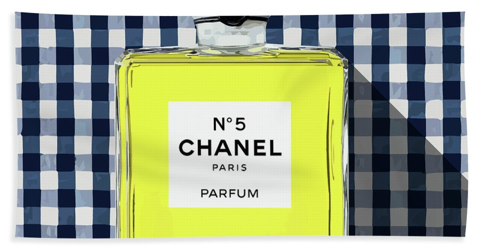 Chanel No.5 Bath Sheet featuring the digital art Chanel-no.5-pa-kao-ma1 by Bobbi Freelance