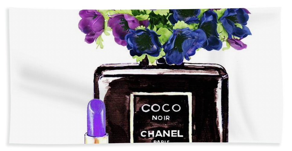 Chanel Bath Sheet featuring the painting Chanel Noir Perfume Bottle by Del Art