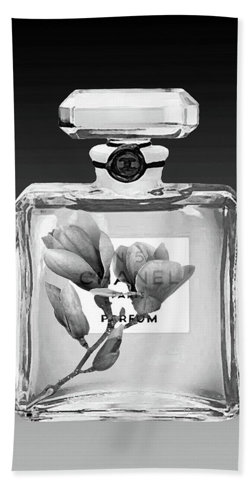 Chanel Poster Bath Sheet featuring the mixed media Chanel Perfume Black Flower by Del Art