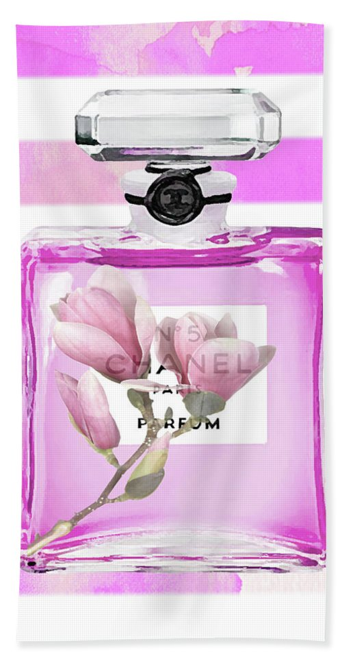Chanel Print Hand Towel featuring the painting Chanel Pink Flower 5 by Del Art