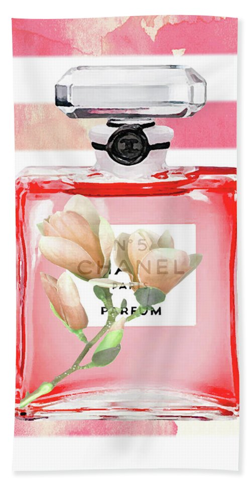 Cc Hand Towel featuring the painting Chanel Red Flower by Del Art