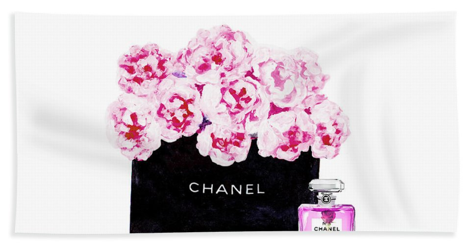 Chanel Art Print Hand Towel featuring the mixed media Chanel With Flowers by Del Art