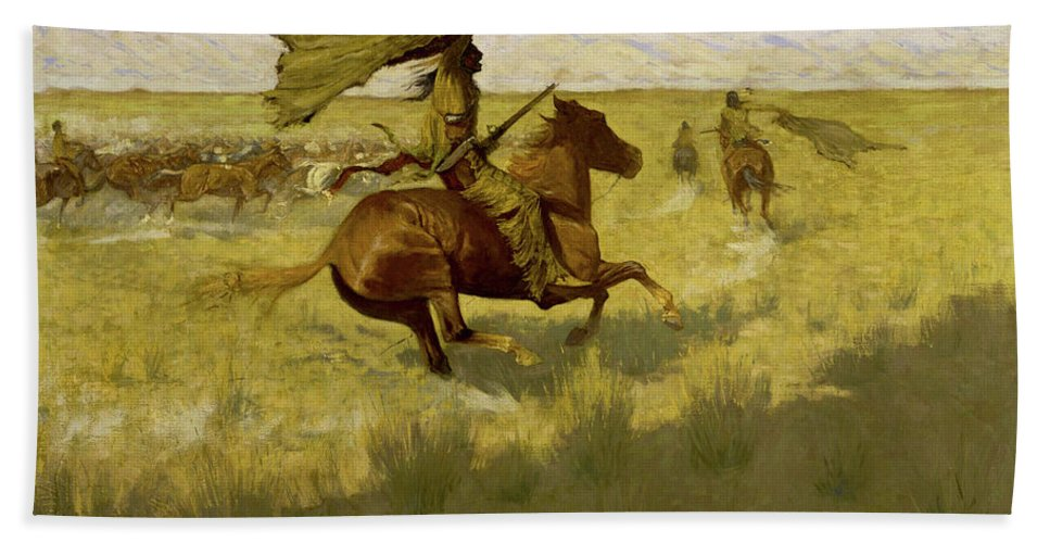 Horses Bath Sheet featuring the painting Change Of Ownership -the Stampede Horse Thieves by Frederic Sackrider Remington