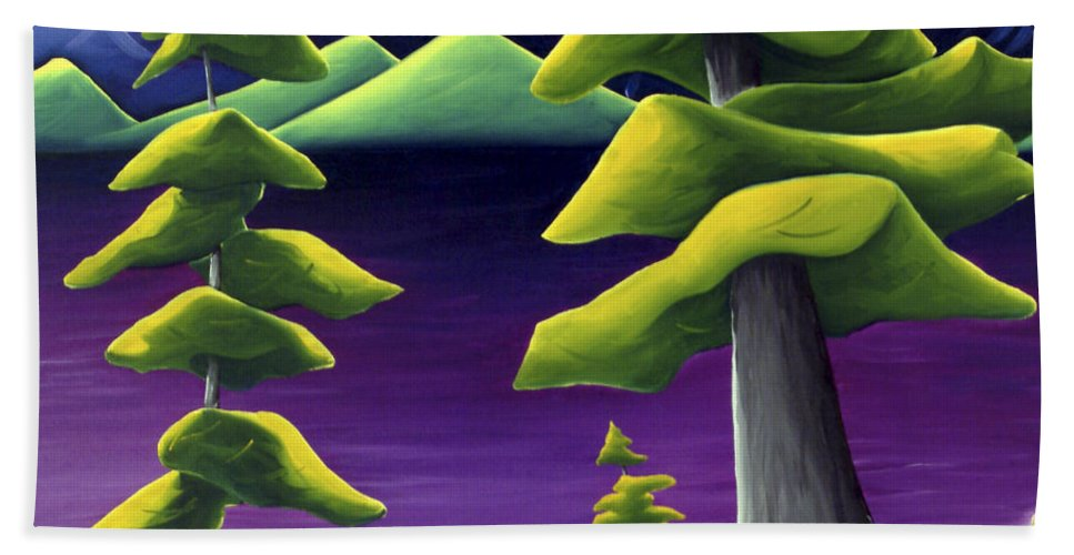 Landscape Bath Towel featuring the painting Change Of Pace by Richard Hoedl