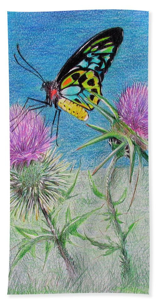 Butterflies Hand Towel featuring the drawing Changes by Becky Brooks