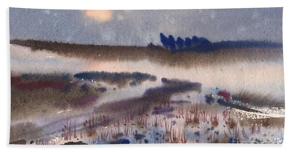 Snow Hand Towel featuring the painting Changing Seasons by Donald Maier