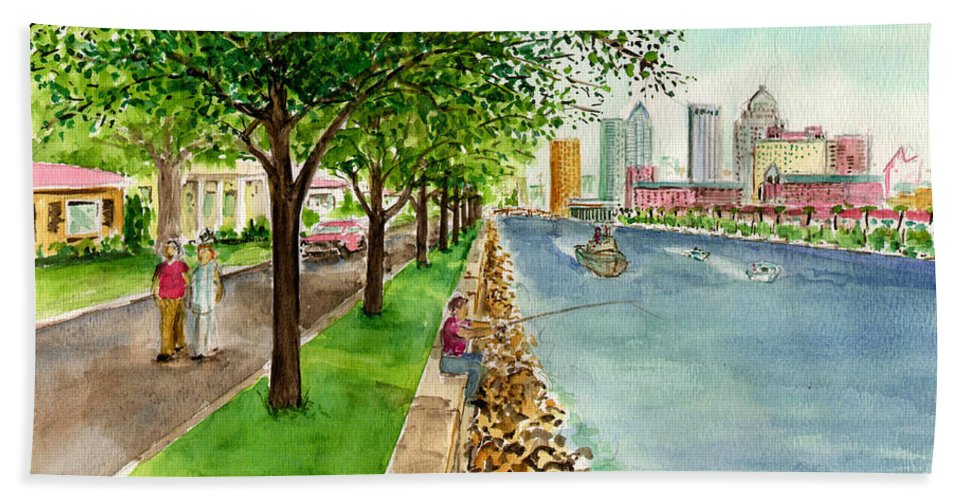 Tampa Trees Water Channel Boat Couple Rocks Fishing Bath Sheet featuring the painting Channel Drive Tampa Florida by Frank Hunter