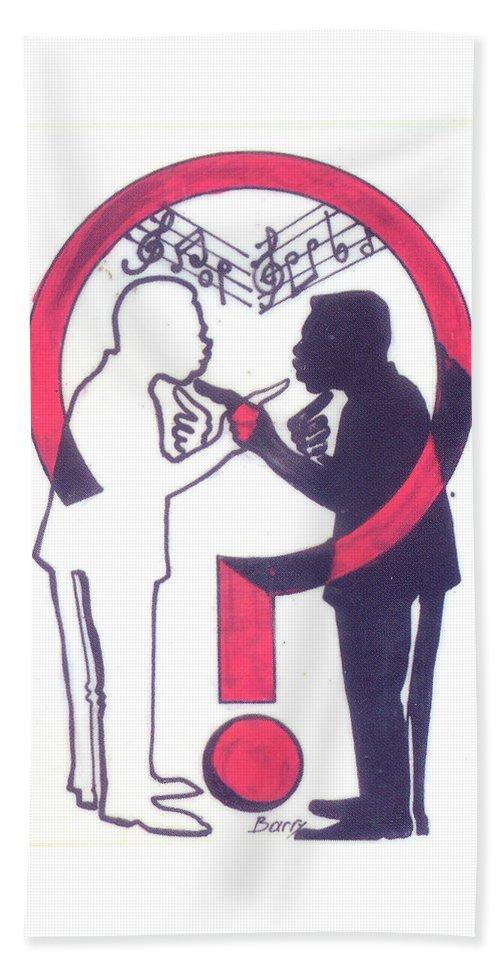 Music Bath Sheet featuring the painting Chants Of A Lunatic by Emmanuel Baliyanga