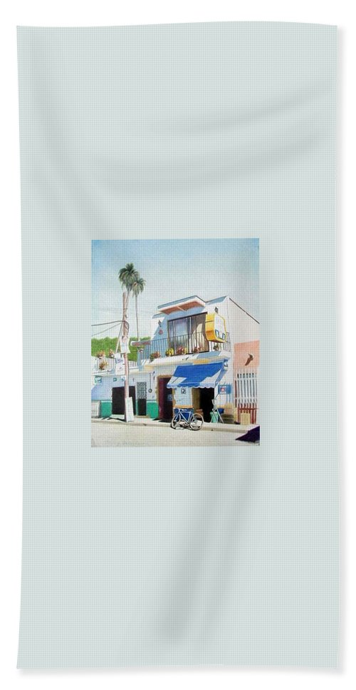 Trees Bath Sheet featuring the mixed media Chapala Store by Constance Drescher