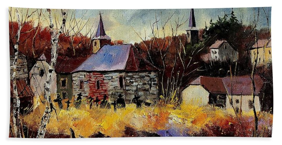 Landscape Bath Sheet featuring the painting Chapelle D'havenne by Pol Ledent