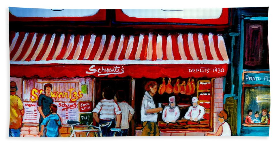 Schwartzs Hand Towel featuring the painting Charcuterie Schwartz's Deli Montreal by Carole Spandau