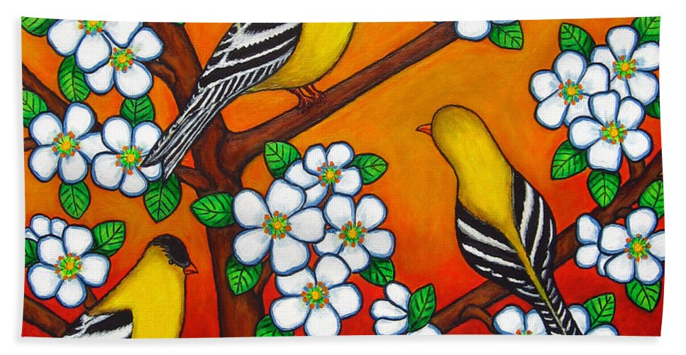 Goldfinch Hand Towel featuring the painting Chardonnay Sunset by Lisa Lorenz