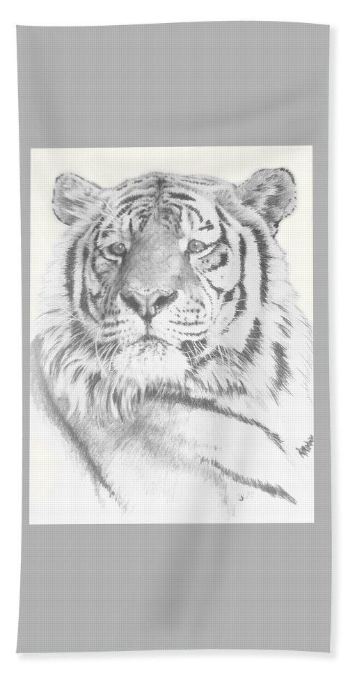 Tiger Bath Towel featuring the mixed media Charisma by Barbara Keith