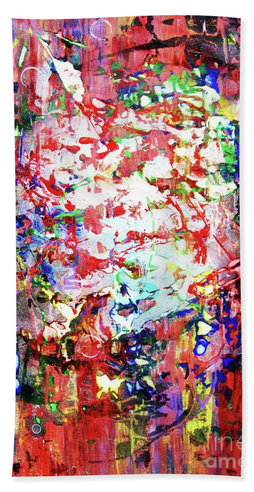 Abstraction Hand Towel featuring the painting Charivari by Roberto Prusso