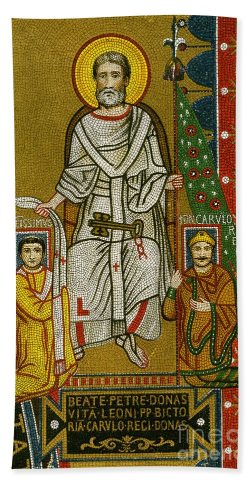 8th Century Hand Towel featuring the painting Charlemagne (742-814) by Granger