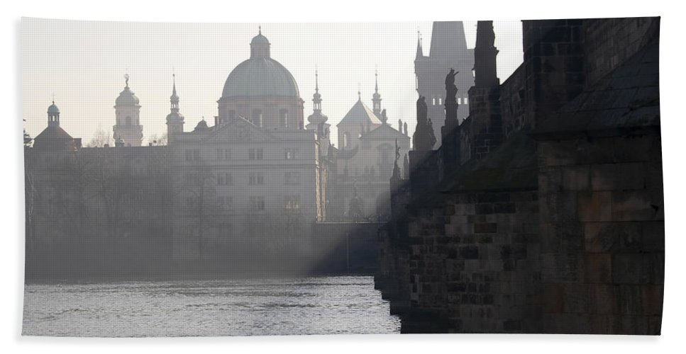 Bridge Hand Towel featuring the photograph Charles Bridge At Early Morning by Michal Boubin