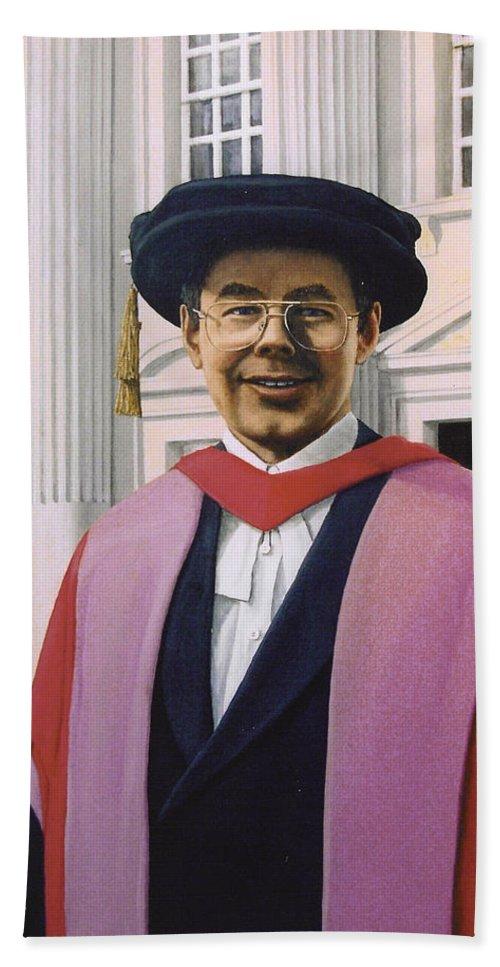 Portrait Hand Towel featuring the painting Charles Harpum Receiving Doctorate Of Law by Richard Harpum