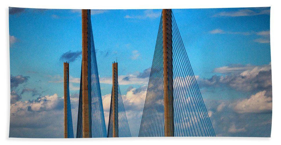 Indian River Bridge Hand Towel featuring the photograph Charles W Cullen Bridge South Approach by Bill Swartwout Fine Art Photography