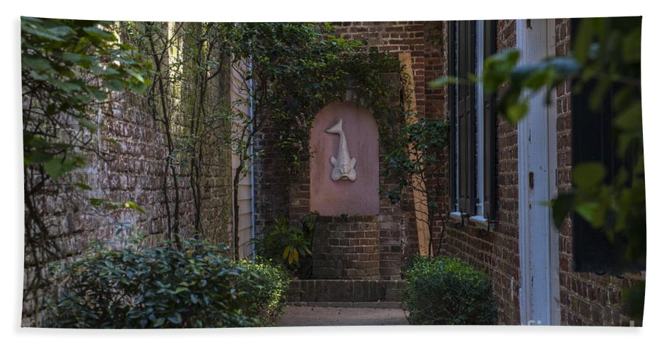 Alley Hand Towel featuring the photograph Charleston Brick Alley by Dale Powell