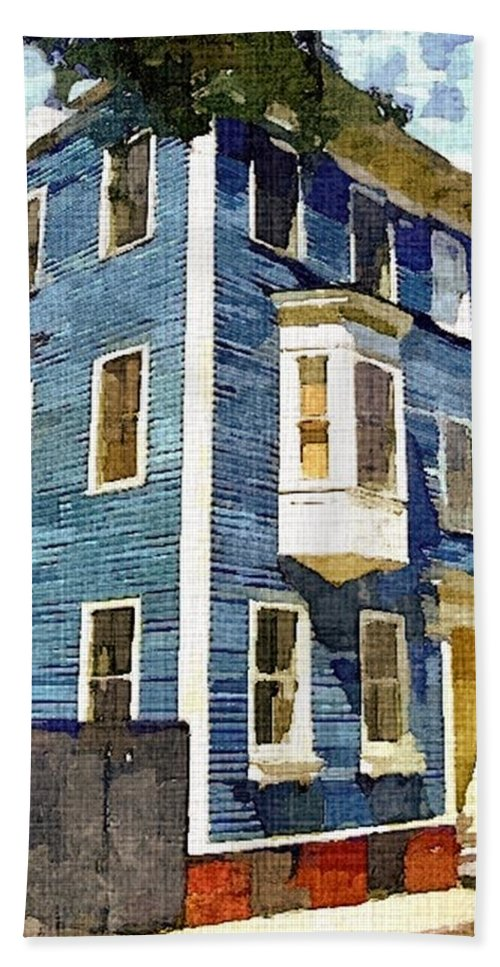 Blue House Hand Towel featuring the painting Charlestown Blues by Rachel Niedermayer