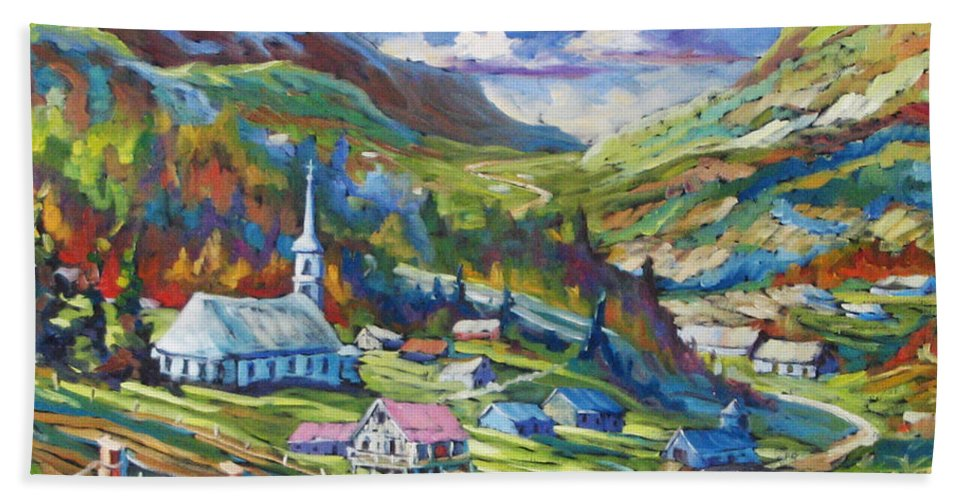 Charlevoix Hand Towel featuring the painting Charlevoix Inspiration by Richard T Pranke