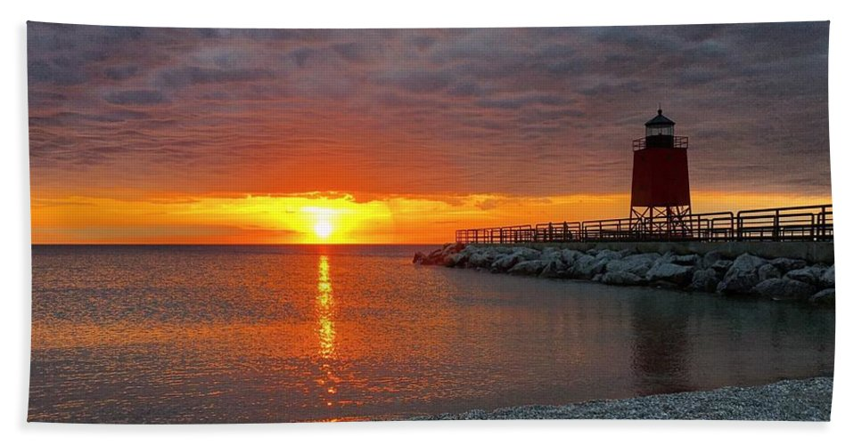 Charlevoix Bath Sheet featuring the photograph Charlevoix Sunset by Megan Noble