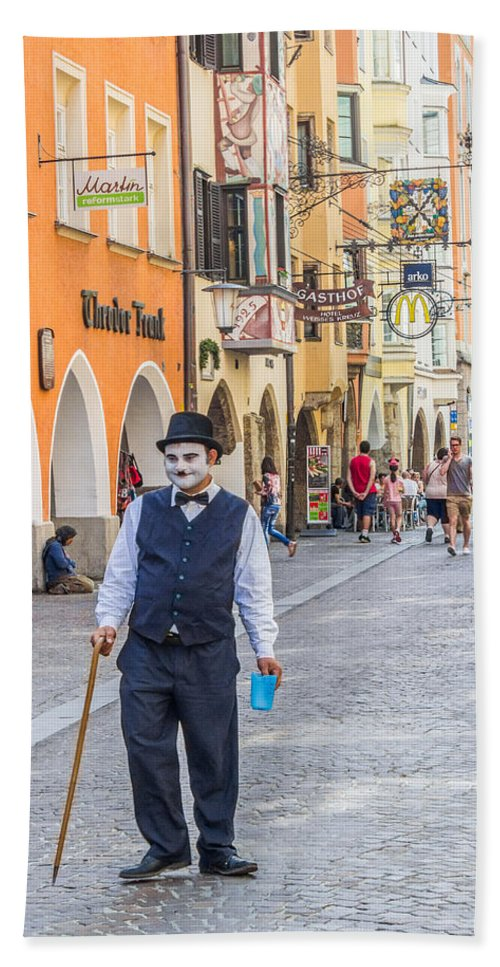 Austria Hand Towel featuring the photograph Charlie Chaplin In Innsbruck by Lisa Lemmons-Powers