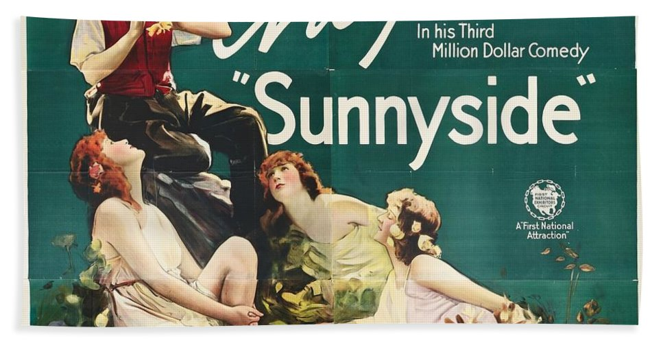 Movie Bath Sheet featuring the drawing Charlie Chaplin In Sunnyside 1919 by Mountain Dreams