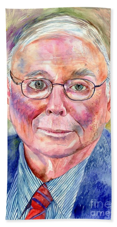 Charlie Bath Towel featuring the painting Charlie Munger Painting by Suzann Sines
