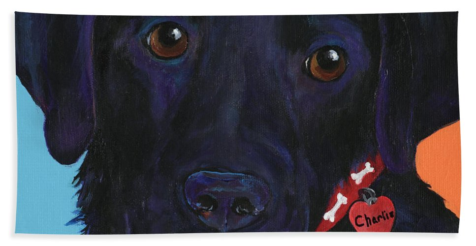Dog Art Hand Towel featuring the painting Charlie by Pat Saunders-White