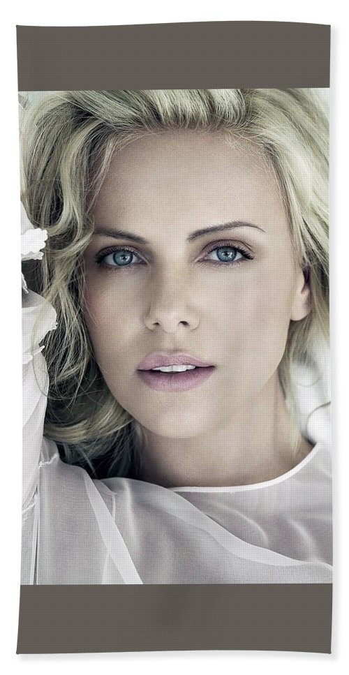 Charlize Theron Blue Eyed Blonde Blouse Celebrity Hollywood 11 6x60 Hand Towel featuring the digital art Charlize Theron Blue Eyed Blonde Blouse Celebrity Hollywood 31116 640x960 by Rose Lynn