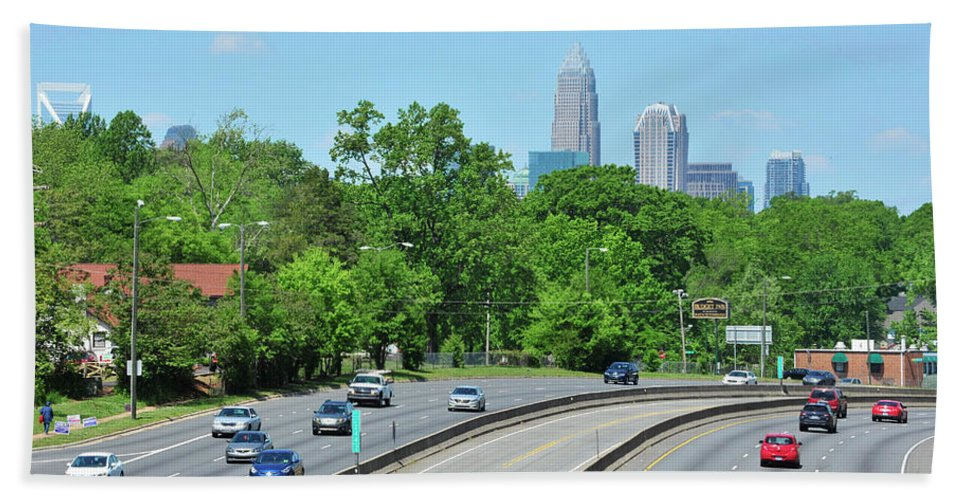 Building Hand Towel featuring the photograph Charlotte Skyline From A Distance by Dennis Ludlow