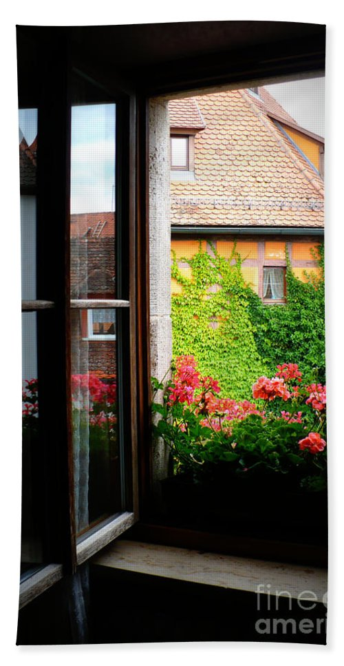 Europe Hand Towel featuring the photograph Charming Rothenburg Window by Carol Groenen