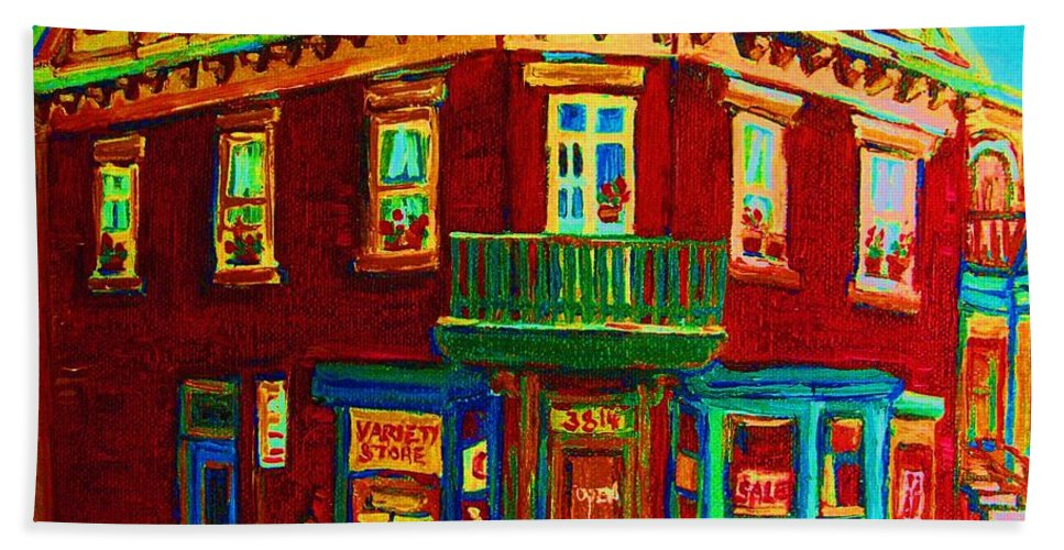 Plateau Montreal Charming Corner Stores Street Scenes Bath Towel featuring the painting Charming Store On The Corner by Carole Spandau