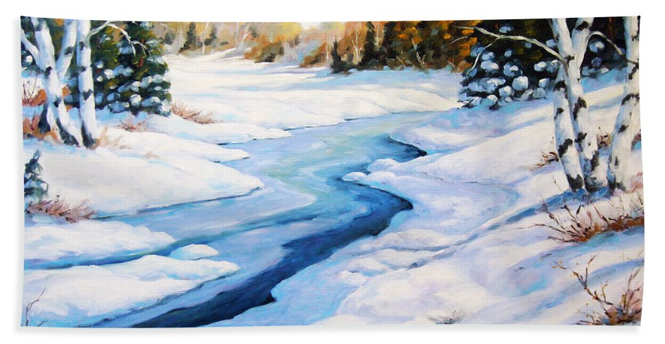 Winter Hand Towel featuring the painting Charming Winter by Richard T Pranke