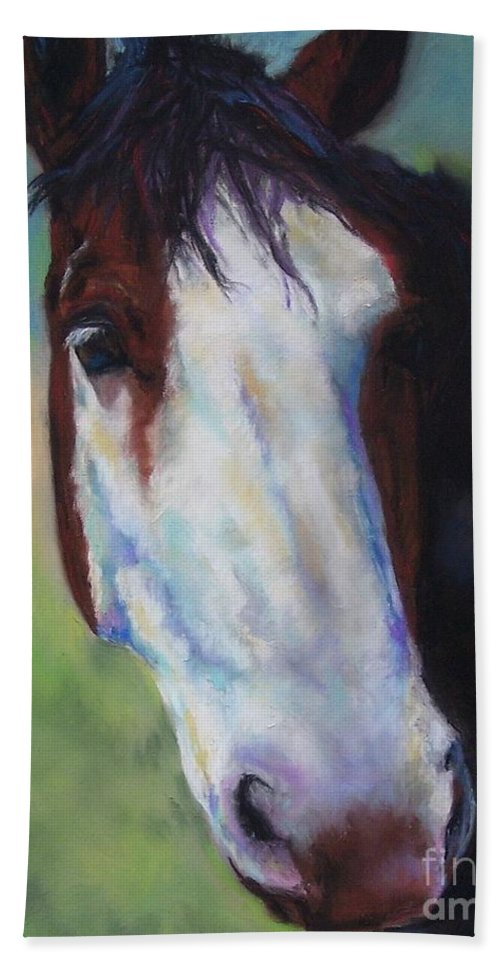 Horse Hand Towel featuring the painting Charolette by Frances Marino