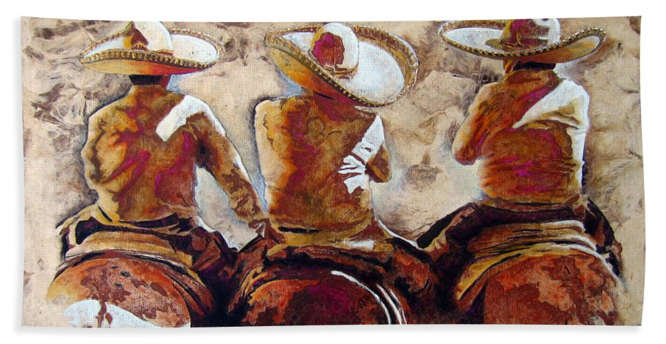 Charros Hand Towel featuring the painting 3 . C H A R R O . F R I E N D S by J - O  N  E
