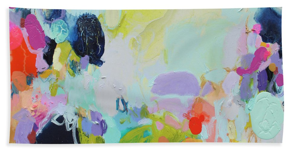 Abstract Hand Towel featuring the painting Chartreuse Stop by Claire Desjardins