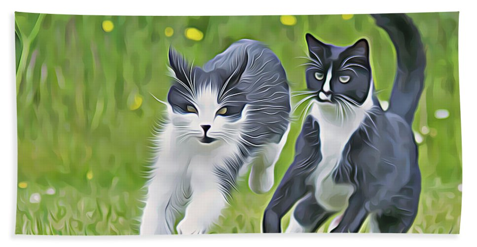 Cats Bath Sheet featuring the digital art Chase Me by Debbie Deboo