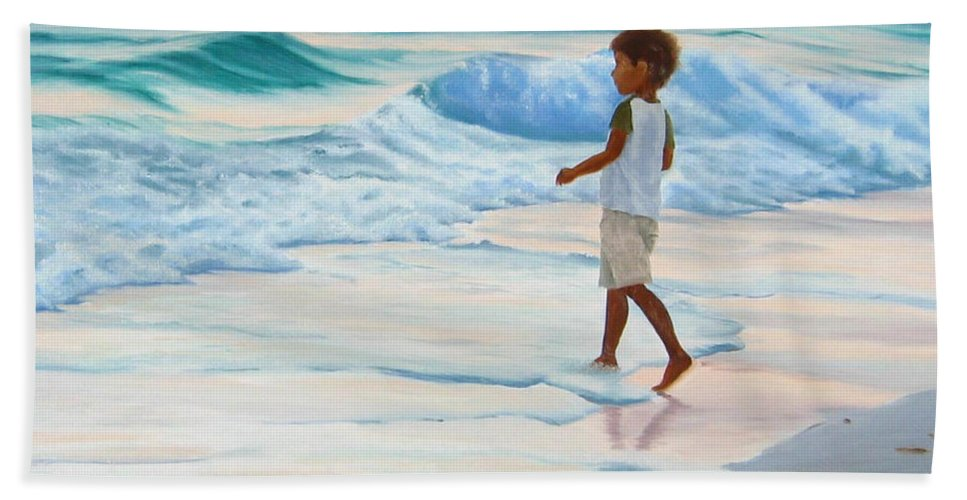 Child Hand Towel featuring the painting Chasing the Waves by Lea Novak
