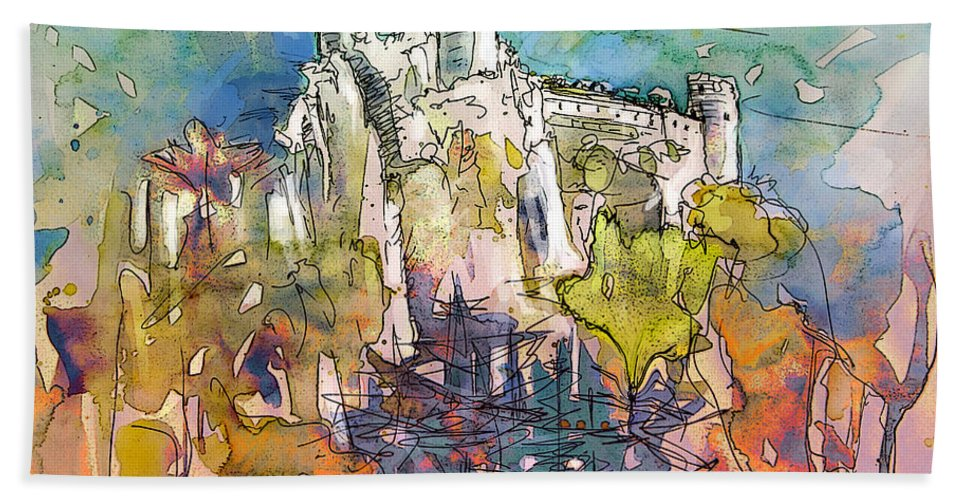 Cathars Art Hand Towel featuring the painting Chateau Cathare De Puylaurens 01 - France by Miki De Goodaboom