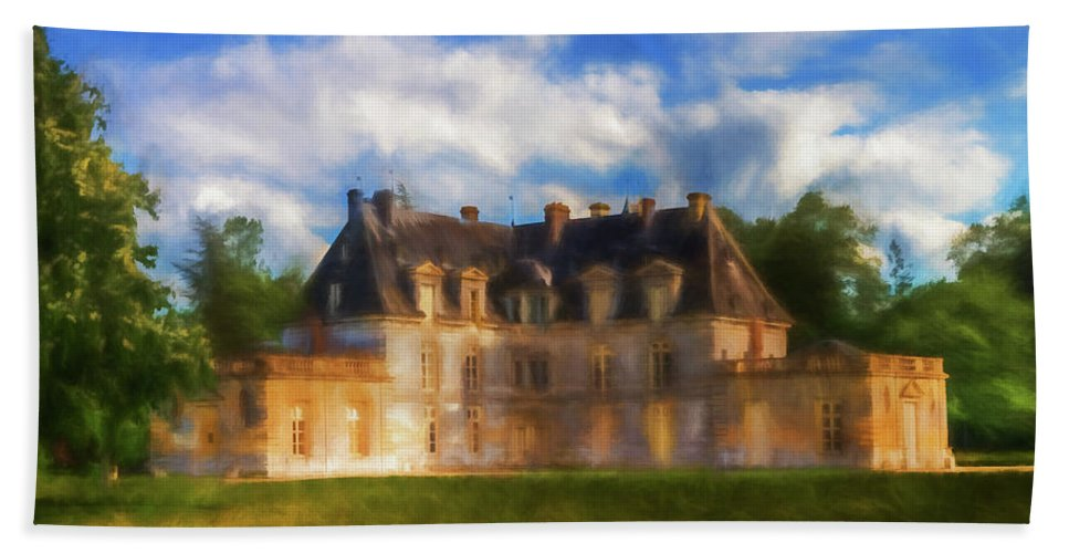 Chateau Bath Sheet featuring the digital art Chateau D'acquigny by Ronald Bolokofsky