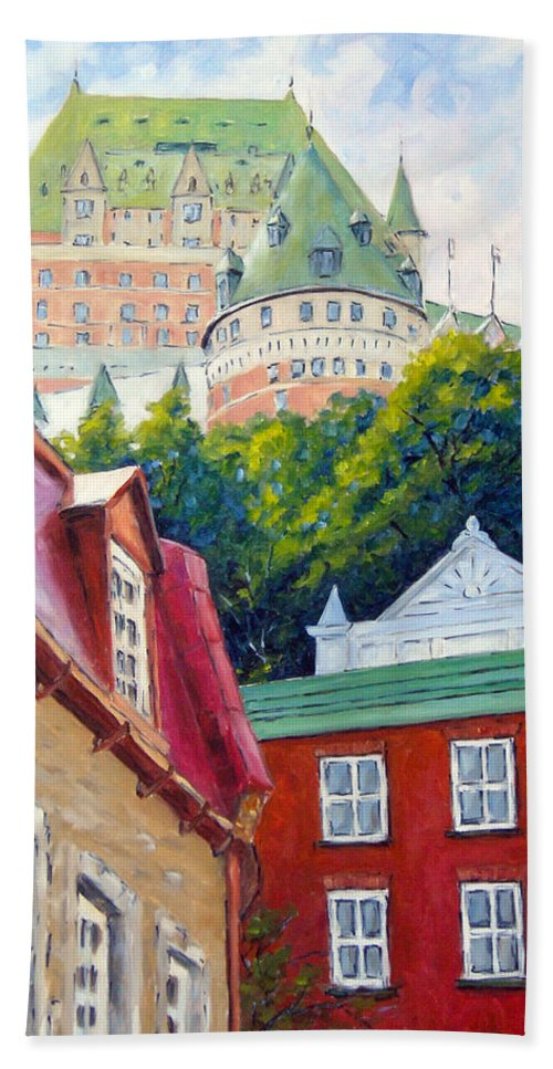Town Hand Towel featuring the painting Chateau Frontenac 02 by Richard T Pranke