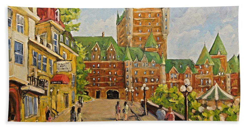 Original Oil Painting Of Chateau Frontenac. Stunning Scene Of Th Bath Towel featuring the painting Chateau Frontenac Promenade Quebec City By Prankearts by Richard T Pranke