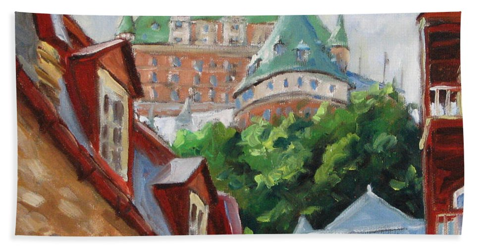 Chateau Frontenac Hand Towel featuring the painting Chateau Frontenac by Richard T Pranke